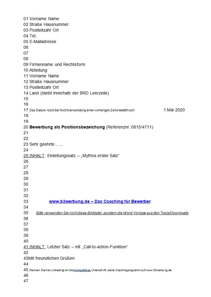 Bewerbungsanschreiben Aufbau Formatierung Din5008 Vorlage Word